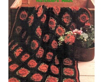 Instant Download PDF Granny Squares Crochet Pattern to make a Blooming Rose Flower Blossom Afghan Sofa Throw Blanket Bedspread Cushion