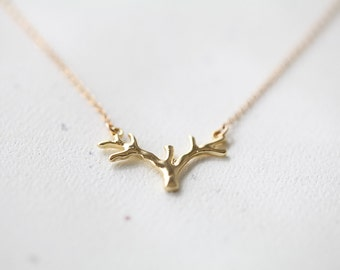 Small Antler Necklace - gold deer antler pendant necklace, tree branch charm necklace