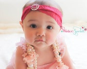 baby headband, Pink Jewel headband,  newborn headband ,Flower Headband - Baby Girl Headband