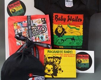 Rasta Baby Gift Box. Baby Wailer onesie, Bob Marley lullaby music CD, beanie hat, sticker & greeting card. Fun reggae baby gift set