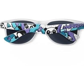 Panda back to school wayfarer sunglasses unique hand painted