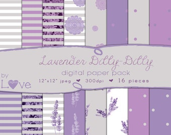 Lavender  Digital Paper Pack 16 Pattern Pieces Instant Download