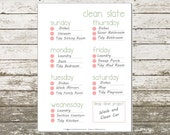 PDF Printable Page Weekly Cleaning Organization Tool