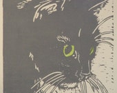 "Longhaired cat hand-colored block print - ""On watch"""