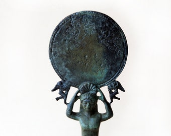 Bronze Sculpture, Ancient Greek Mirror with a Support of a Young Boy and Two Eros (Cupid), Museum Quality Art, Greek Art, Collectible Art