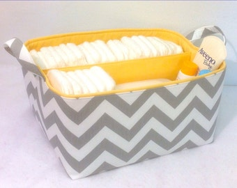 "XLA Diaper Caddy with 2 Sections 13""x11""x7"" Fabric Storage Organizer, Basket, Grey/White Chevron with Yellow Lining"