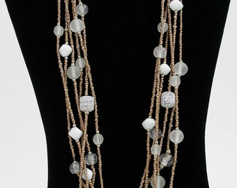 Reduced 25% ...Vintage Multi Media Beads and Multi Stranded (6 Strands) Geometical Necklace in Golds, White, Silvers, & Greys circa 1980s