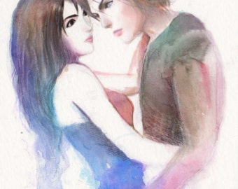 8.5x11 Watercolor - Rinoa Heartilly and Squall Leonheart of FFVIII
