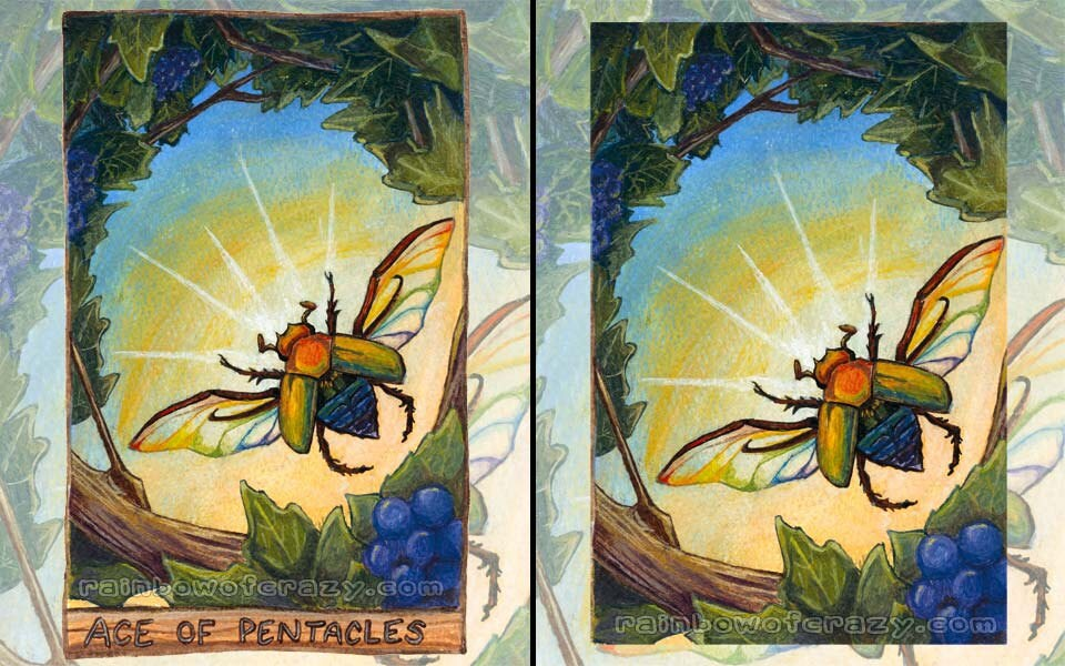 Scarab beetle print insect art rainbow decor ace of for Decorative tarot cards