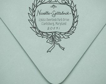 Custom Wood Handle Rubber Wreath Address Stamp