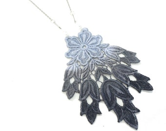 Lace Statement Necklace in Black and Grey Ombre