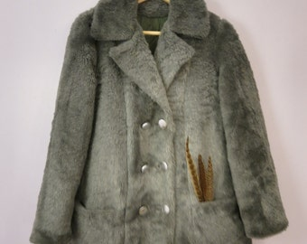 Shoegazers Club Grey Faux Fur Pea Coat with Pockets And Metal Buttons, Size 10