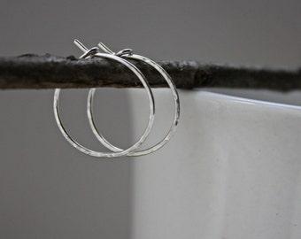 Small Hammered Hoops - Silver Hoop Earrings - Hammered Hoop Earrings - Little Silver Hoops - Argentium Silver Jewelry - Hypoallergenic