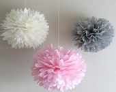 7 Pom Poms - Vintage Pink & Grey Tissue Paper Pom-Poms - Birthday, Weddings, Nursery, Baby Shower, Bridal Shower, Paper Decorations