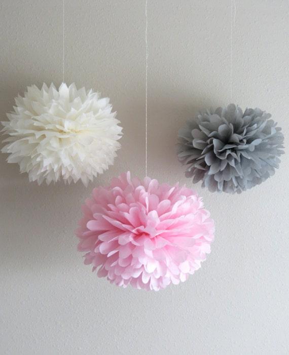 7 Pom Poms - Vintage Pink & Grey Tissue Paper Pom-Poms - Birthday, Weddings, Nursery, Baby Shower, Bridal Shower, Paper Decorations