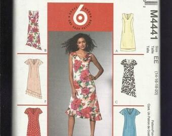 McCalls 4441  Vee Neck Dresses with Hemline & Sleeve Variations Size 14-16-18-20