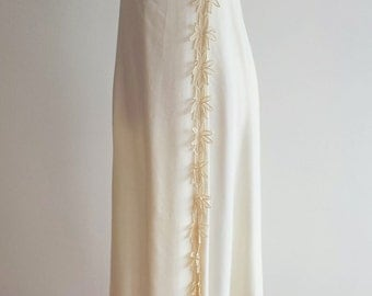 Vintage Linen and Crochet Floral Applique Maxi Dress/Gown