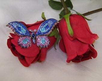 Vintage Rhinestone Blue Pink Butterfly Brooch, Silver Tone Butterfly Brooch, Vintage Butterfly Pin Brooch, Brooch Under 20