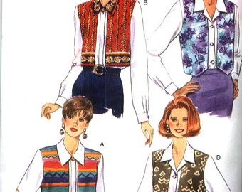 "Vintage 1995 Butterick 3955 Something Different Blouse with ""Vest Overlay"" Misses Sz 12-16 Uncut Factory Folded"
