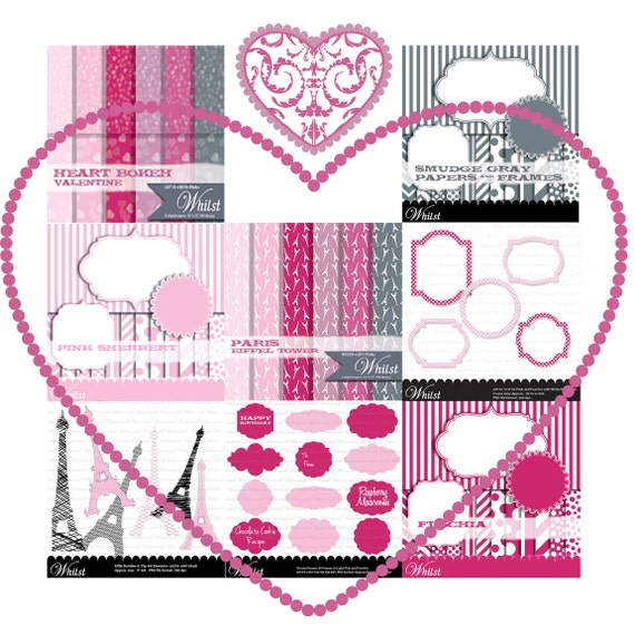 Valentine digital paper Value Pack Romantic clip art and paper Paris Love background small commercial personal use : v0100 9 listings