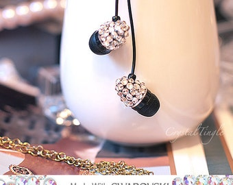 Sparkle Diamond Earbuds Made w/ Swarovski Elements Crystals with Microphone to Skype or Vchat for iPhone iPod iPad MP3 Any 3.5mm Plug