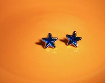 Blue Star Earrings -- Studs, Dark Blue Stars, Silver