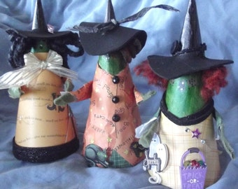 Meet Ada, Adair and Aglea all are 6 inch paper mache cone witches for Halloween decore