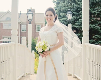 """Fingertip veil with scattered pearls, bridal veil, wedding veil, Available 36"""" - 44"""" lengths"""