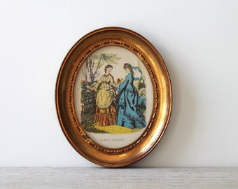 Vintage Victorian style oval fashion plate / wall decor accessory for home / Turner Mfg Co / cottage chic / made in USA / La Mode Illustree