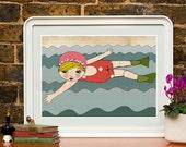 art print , swimming, wall art bathroom, bathroom print, wall art print,illustration, fine art prints, art posters, romantic Art, wall decor