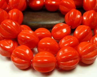 Opaque Orange Red 10mm Round Czech Glass Beads - 20pcs - Fluted Melons - BE24