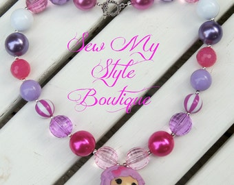 Chunky Bubblegum Bead Necklace/Chunky Bead LALA Loopsy Necklace/ Pinks and Lavender