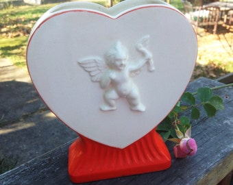 Vintage Valentine's Day Planter, Heart, Cupid, Vase Japan, Red and White