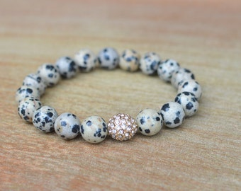 Spotted Jasper Stretch Gemstone Bracelet // Crystal Pave Bead // Leopard Gemstone Bracelet // Bracelet Stack // Bestseller