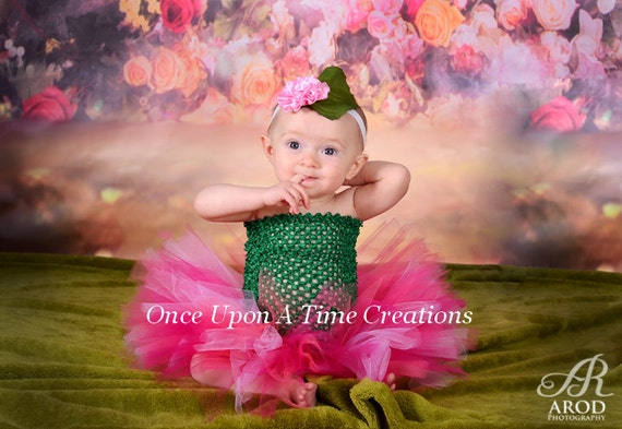 Little Rose Tutu Dress - Perfect for Flower Photo Prop, Dress Up, Halloween Costume, Birthday Gift, Size Newborn 3 6 9 12 18 24 Months