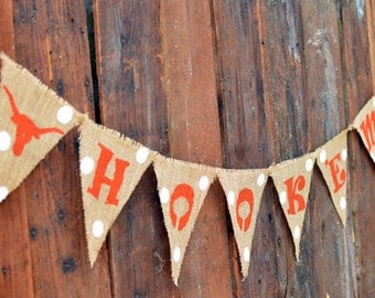 Hook'em Burlap Banner for University of Texas