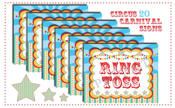 Circus Carnival Signs Circus Theme Signs Circus Games Instant