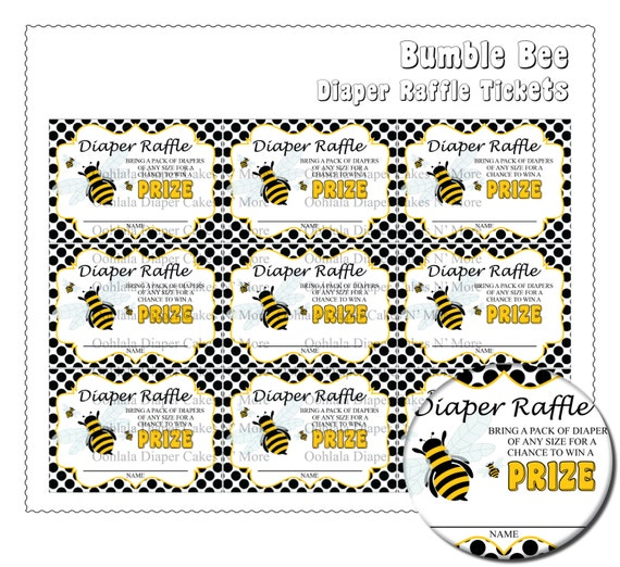diy printable bumble bee diaper raffle tickets by allbywanda