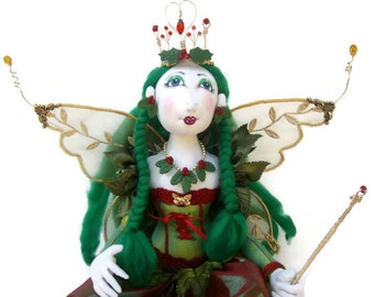 Holly Berry hand sculpted Boudoir art doll  Woodland Fairy with crown and wand Christmas gift