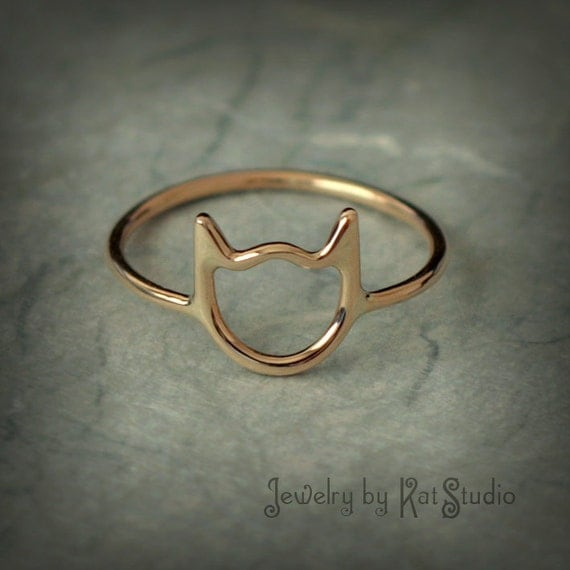 gold cat ring cat ring solid 14k yellow gold jewelry etsy