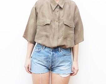 Vintage SILK khaki army brown 90s shirt