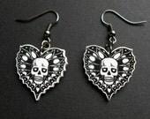 Skull Dangle Earrings, skull jewellery, skull heart dangle earrings, stocking stuffers