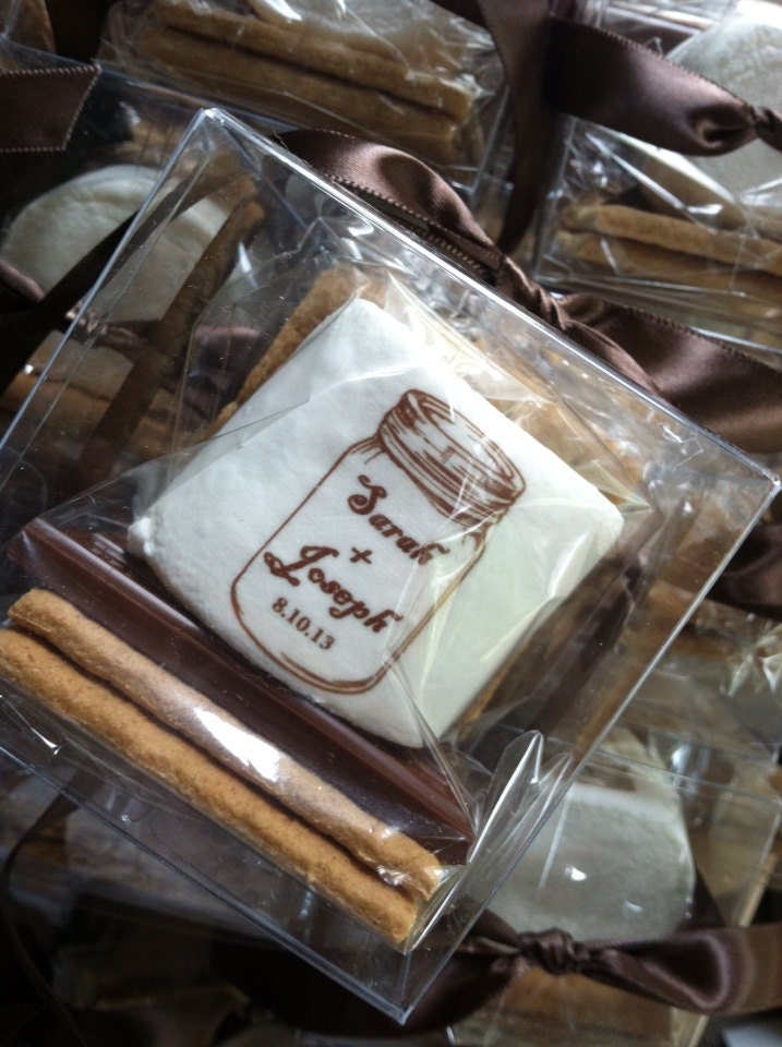 Mason Jar Smores Kit Wedding Favors Shabby Chic Vintage