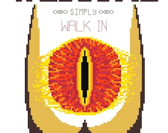 Cross Stitch Pattern -- Welcome, simply walk in 8x10 counted cross stitch for housewarming, now witih bonus mini