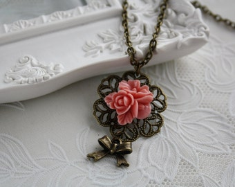 Rose necklace vintage bronze filigree romance flower charm cute bow jewellery accessory gift box cottage chic shabby woodland retro