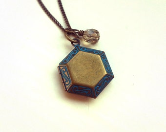 Antique Bronze Hexagon Locket Necklace, Vintage locket pendant, Czech glass bead, Antique bronze curb chain