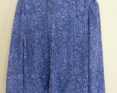 Lavender and Periwinkle Accordian Pleated Floral Peasant Blouse
