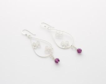 Butterfly  Amethyst Earrings, Drop Dangle Earrings, Sterling Silver Filigree Jewelry, Teardrop Earrings, Pear Shape Jewelry