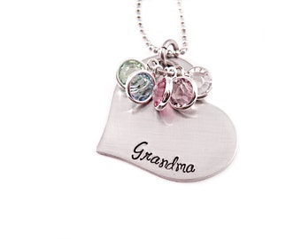 Personalized Grandma Necklace - Hand Stamped Jewelry - Grandma Heart Necklace - Gift for Grandma - Personalized Jewelry - Christmas Grandma