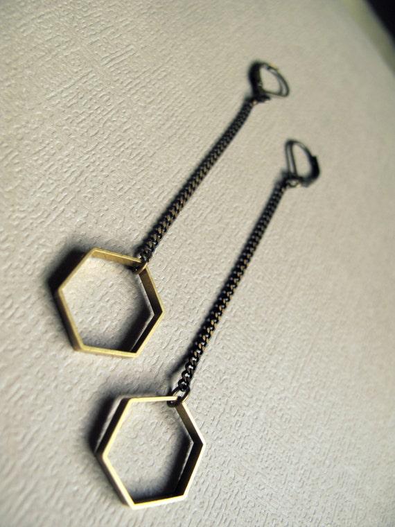 Foyer Minimalist Jewelry : Minimalist earrings hexagon geometric